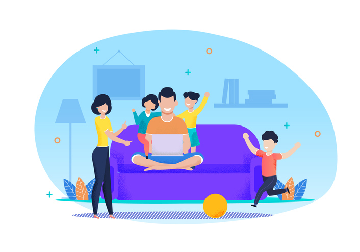 An illustration of a family in their living room learning from a laptop computer